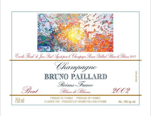 Jean-Paul Agosti designed label for Bruno Paillard 2002 Blanc de Blancs Champagne