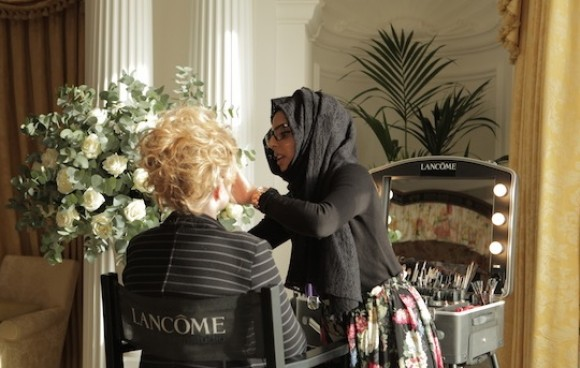Lancome applying my make up at the press style suites day held at the SAVOY HOTEL in London