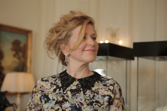 Close up of me at the BAFTA Style Suites wearing Asprey halo drop yellow diamond earrings