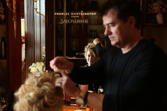EE BRITISH ACADEMY FILM AWARDS in 2014 Charles Worthington in action, doing my hair