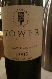 The label on a bottle of Tower Estate Chairman's Selection Shiraz Cabernet