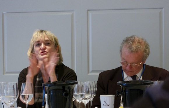 Fiona Beckett and Charles Metcalfe at Koshu wine tasting event