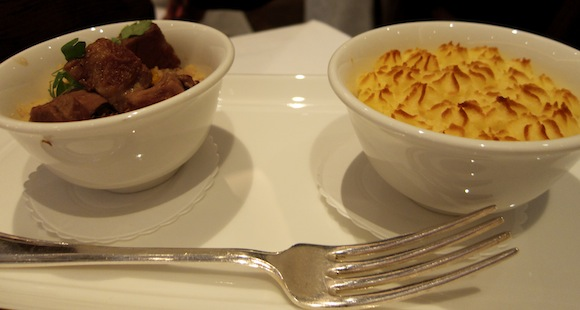 Two dishes matched to Koshu of Japan wine, at The Westbury
