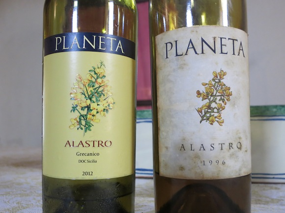 Two vintages of Alastro Grecanico by Planeta winery in Sicily