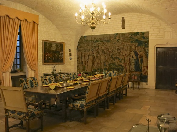 Dining hall at the Chateau de Maligny in Chablis
