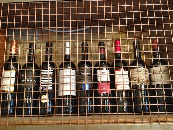 Line-up of wines from Navarra in Spain at Bar Pepito in London