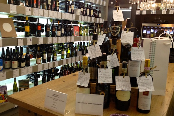 Wide shot of Vini Italiani wine store in London