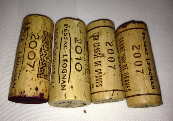 Corks from Pessac-Leognan wines, Chateaux Brown & Couhins