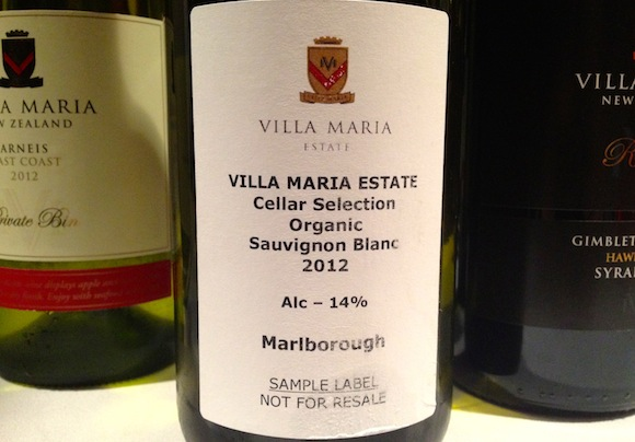 Villa Maria organic sauvignon blanc wine from New Zealand