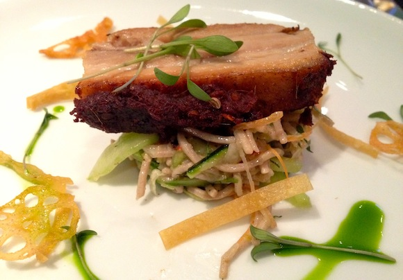 Pork belly on an Asian-style salad served at Bafta for a Villa Maria dinner