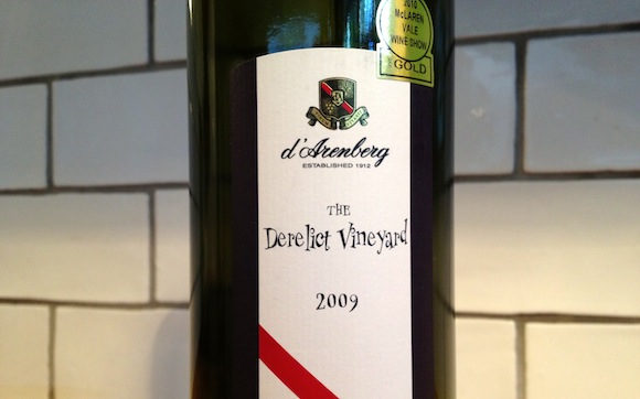 A bottle of D'arenberg Derelict Vineyard Grenache 2009 wine