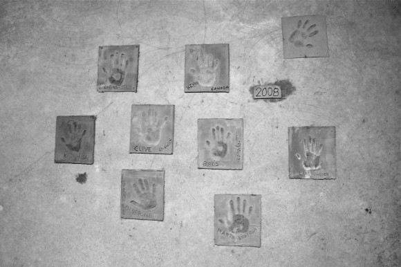 Wine Wall - Seresin handprints of winery workers in cement