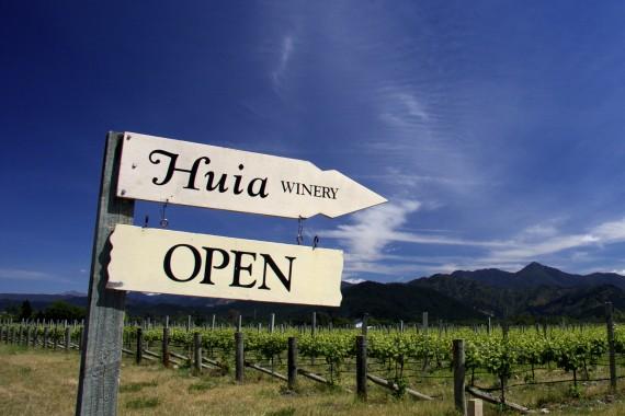 Huia winery sign