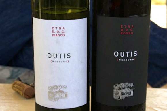 A bottle of Outis Etna Rosso and Bianco from Vini Biondi, Sicily