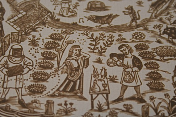 Medieval-style label design for Chene Bleu wines