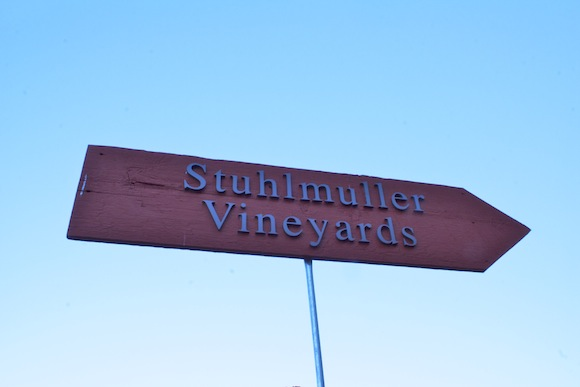 Sign to Stuhlmuller Vineyards in the Alexander Valley, Sonoma, CA