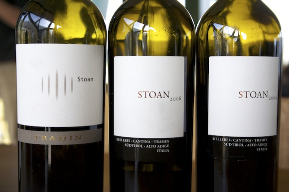 A series of Stoan wines from Catina Tramin, a winery in Alto Adige, Italy