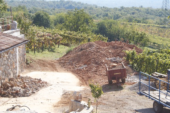 The 'terra rossa' - red earth - of the Carso winemaking region in Friuli, Italy