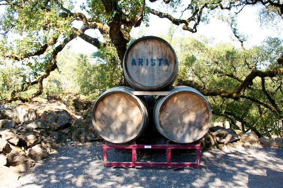 Barrels in the ground of Arista winery, Russian River Valley