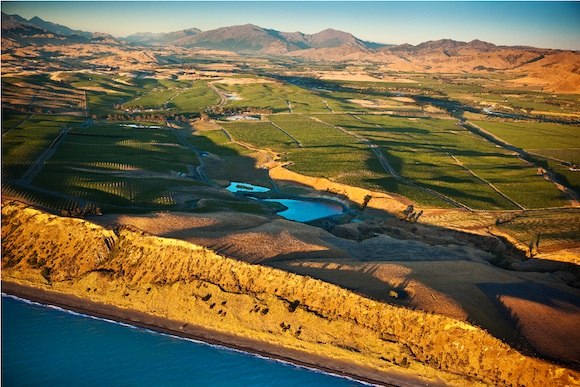 Aerial shot of the Seaview vineyard in the Awatere Valley, Marlborough