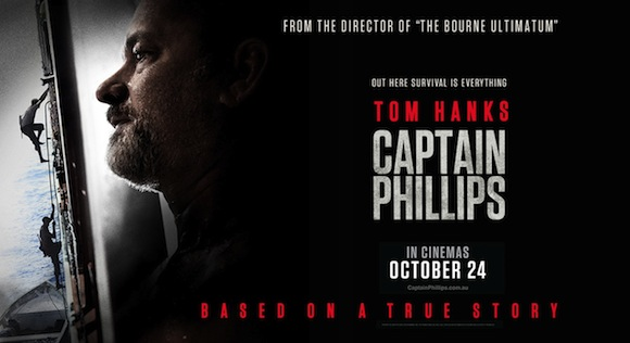 Poster advertising the film Captain Phillips with Tom Hanks