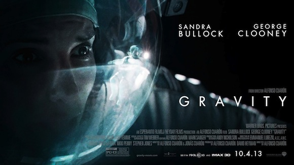 Poster for the film Gravity showing close up of Sandra Bullock