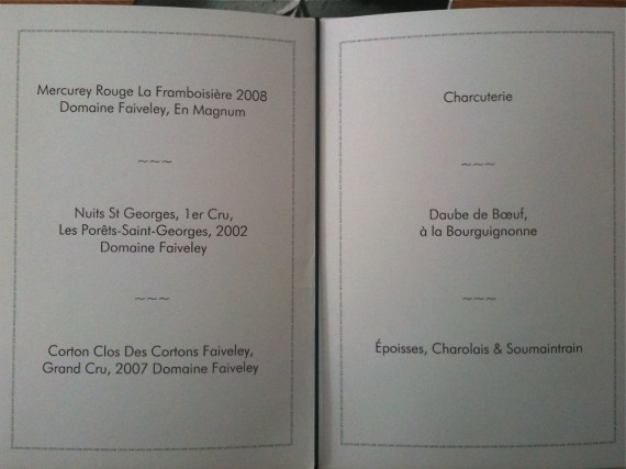 Menu for the Domaine Faiveley evening at The Boundary