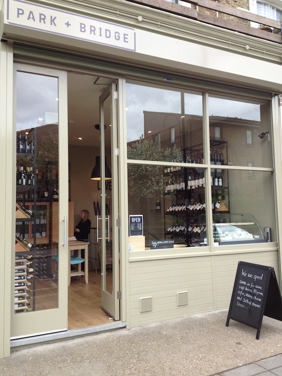 Wide shot of Park + Bridge Wine Store in Acton, West London