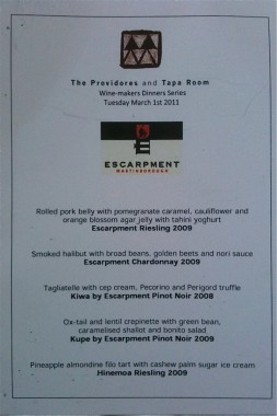 Escarpement wine menu at The Providores