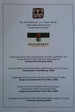Escarpement wine menu at The Providores