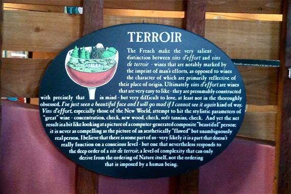 Sign in Bonny Doon cellar door in terrroir