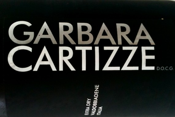 Close up of the Garbara Cartizze Wine label