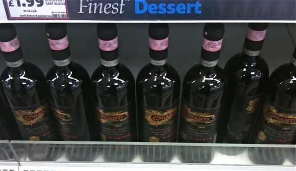 Chianti in the chiller section at Tesco